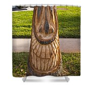 Carving A Happy Tiki From A Palm Tree Stump Shower Curtain