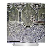 Carving Like Cleopatra's Necklace In A Crypt In Temple Of Hathor Near Dendera-egypt Shower Curtain by Ruth Hager