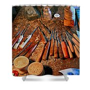 Carving Tools Of Pietro Picetti Shower Curtain