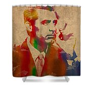 Cary Grant Watercolor Portrait On Worn Parchment Shower Curtain