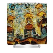 Casa Battlo Shower Curtain by Mo T