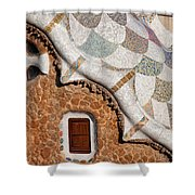 Casa Del Guarda Details In Park Guell Shower Curtain