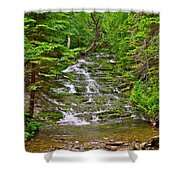 Cascade Over Mossy Rocks Along La Chute Trail In Forillon Np-qc Shower Curtain