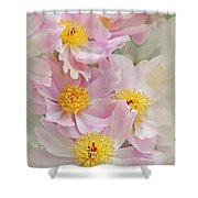 Cascading Pink Peony Flowers Shower Curtain