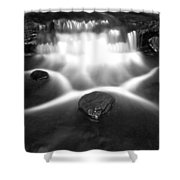 Cascading Waterfall Black And White Shower Curtain