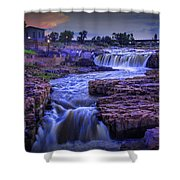 Cascading Waterfalls At Sunset Shower Curtain