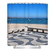 Cascais Promenade And Bay In Portugal Shower Curtain