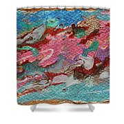 Caspian Sea Abstract Painting Shower Curtain by Julia Apostolova