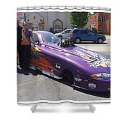 Cassie Simonton With Her Alcohol Funny Car Shower Curtain