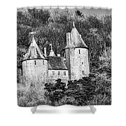 Castell Coch Mono Shower Curtain