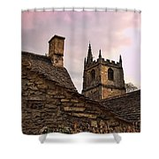 Sunset At Castle Comb Church - Wilshire England Shower Curtain