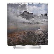 Castle Geyser In Winter Shower Curtain