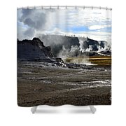 Castle Geyser In Yellowstone National Park Shower Curtain