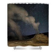 Castle Geyser With Milky Way In Lower Shower Curtain