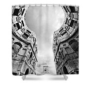 Castle Keyhole In Black And White Shower Curtain