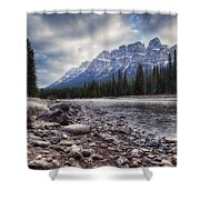 Castle Mountain River View Shower Curtain