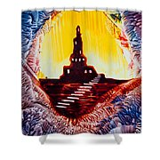 Castle Rock Silhouette Painting In Wax Shower Curtain