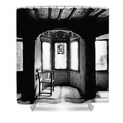 Castle Room With Chair Bw Shower Curtain