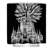 Castle With Fireworks In Black And White Walt Disney World Shower Curtain