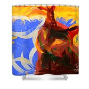 Cat Abstract Art Shower Curtain by Pixel Chimp