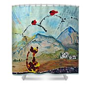Cat And Bird Game Shower Curtain