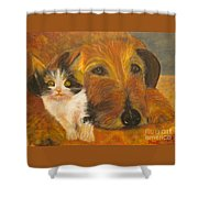 Cat And Dog Original Oil Painting  Shower Curtain