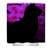 Cat And Flowers Midnight Silhouette Shower Curtain
