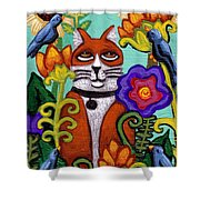 Cat And Four Birds Shower Curtain