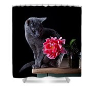 Cat And Tulip Shower Curtain