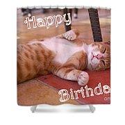 Cat Birthday Card Shower Curtain