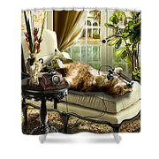 Funny Pet Talking On The Phone  Shower Curtain