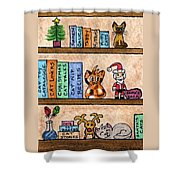 Cat Chrismas Shelves Shower Curtain