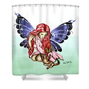Cat Fairy In Blue  Shower Curtain