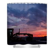 Cat Grader Sunset Silhouette Shower Curtain by Alanna DPhoto