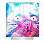 Think About The Cat In Blue Shower Curtain
