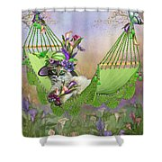 Cat In Calla Lily Hat Shower Curtain
