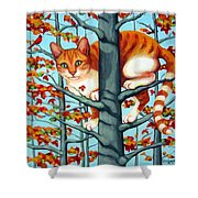Orange Cat In Tree Autumn Fall Colors Shower Curtain