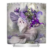 Cat In Easter Lilac Hat Shower Curtain