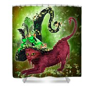 Cat In Fancy Witch Hat 2 Shower Curtain