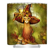 Cat In Fancy Witch Hat 3 Shower Curtain