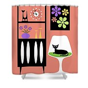 Cat In Pink Room Shower Curtain