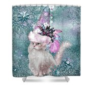 Cat In Snowflake Hat Shower Curtain