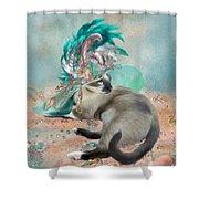 Cat In Summer Beach Hat Shower Curtain