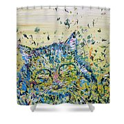 Cat In The Grass Shower Curtain