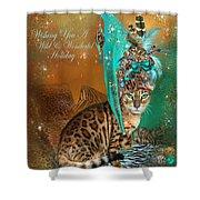 Cat In The Leopard Trim Santa Hat Shower Curtain