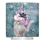 Cat In The Snowflake Santa Hat Shower Curtain