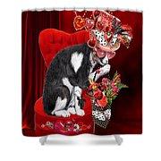 Cat In The Valentine Steam Punk Hat Shower Curtain