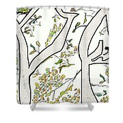 Cat In Tree White Background Shower Curtain