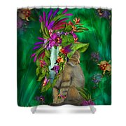 Cat In Tropical Dreams Hat Shower Curtain