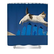 Cat Jumping A Gate Shower Curtain